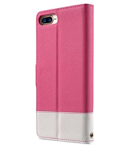 Apple Iphone 7 Melkco Elite-Serie Premium Leder-Snap zurück Tasche Tasche mit Premium-Leder Handgefertigte gute Schutz, Premium Feel-Tan Pink Cross Muster / White Cross Muster 2