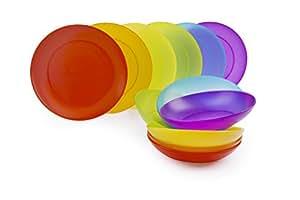 Excelsa Rainbow Servizio Piatti 12 Pezzi, Plastica, Set