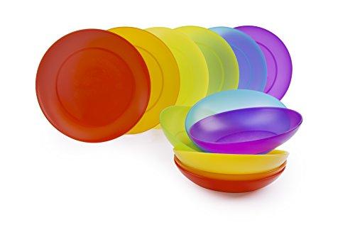 Excelsa Rainbow Servizio Piatti 12 Pezzi, Plastica, Multicolore