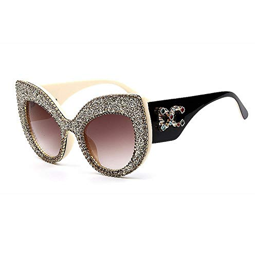 Daawqee Prämie Sonnenbrillen,Brillen,Newest Fashion Women Cat Eye Sunglasses Vintage Oversize Brand Designer Bling Diamond Sun Glasses Men Female Shades Women Cyan gold
