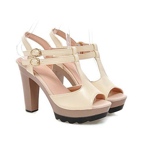 VogueZone009 Donna Punta Aperta Tacco Alto Puro Luccichio Heeled-Sandals Beige