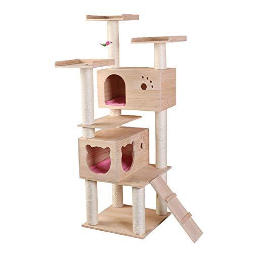 Dixinla albero gatto forniture per ufficio grande gatto legno massello pino di mensola in legno di nido di gatto artiglio consiglio arrampicata quadro 50* 50* 155cm