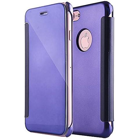 AURSEN® El último y Más Caliente Iphone 7 Plus Espejo de Perspectiva Cubierta Protectora a Prueba de Polvo y a Prueba de Golpes Elegante y Decente, Azul