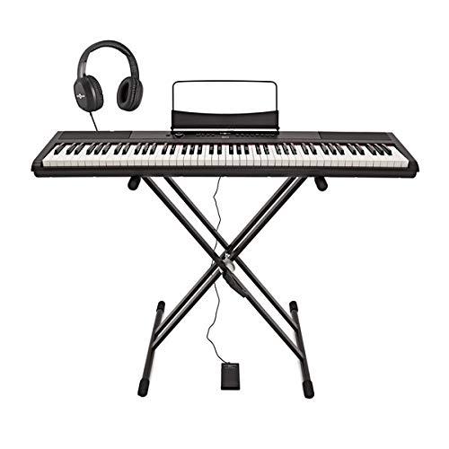 SDP-2 Stage-Piano von Gear4music mit Stander Pedal und Kopfhorer