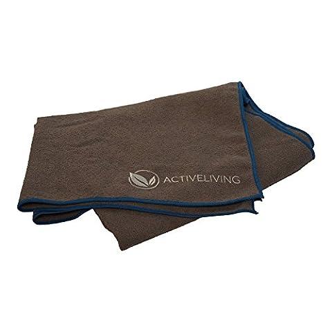 Active living Serviette de yoga antidérapante et super absorbante en microfibre pour une meilleure prise en main et protéger votre tapis de yoga idéale pour le bikram ashtanga ou pilates lavable en machine, gris, taille unique