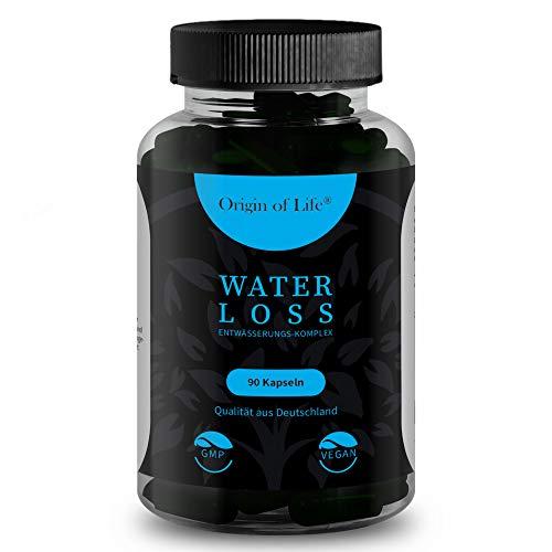WATER LOSS - Entwässerungs-Komplex - 90 hochdosierte & vegane Entwässerungstabletten -100% natürliches Diuretika - Brennnessel - Grüner Tee - Löwenzahn - Kalium - Laborgeprüft - Made in Germany