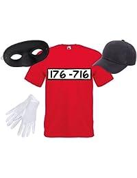 Panzerknacker Fan Set Kostüm Outfit Maske Cap Handschuhe Einbrecher Bankräuber Verkleidung von Alsino