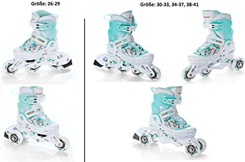 Raven 3in1 Inline Skates Inliner Triskates Rollschuhe Laguna White/Mint verstellbar Größe: 30-33 (19 cm-21,5cm)