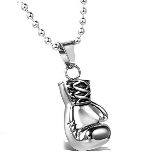 MENDINO - Collana da uomo personalizzabile con ciondolo a forma di guantone da boxe in acciaio inox (argento) con 1sacchetto di velluto
