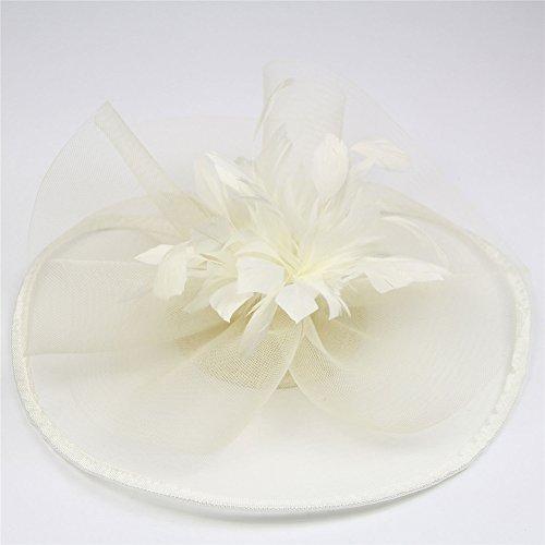 ZYCC Vintage Plume Fleur Mesh Voile Chapeau Fascinator Mariage Fête Cocktail Pince à cheveux Blanc Cassé