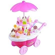 Pinzhi - Rosa Postres y Helado de Coche Juguetes Muñecas Barbies con Sonido 12 Musica y LED para Niños Niñas Regalo