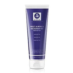 OZ Naturals - Il Miglior Burro per il Corpo - Questo idratante naturale e biologico contiene Mandorle Dolci & Noci di Macadamia per un'idratazione profonda che garantirà luminosità al vostro corpo