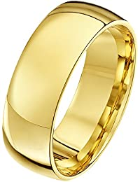 6eb3d9fd2146 Theia Unisex Heavy Court Shape Polished 18 ct Gold Wedding Ring