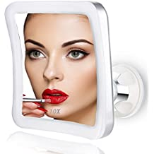 Spaire Espejo Maquillaje Aumento con Luz, ELFINA Espejo Aumento LED Cosmético con Ampliación 10X y Poderoso Ventosa, Rotación 360°, Pequeño para Maquillaje con Espejo de Bolsillo como Regalo