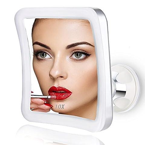 Elfina Miroir Grossissant x 10, Miroir Maquillage Lumineux LED De Voyage avec Verrouillage Ventouse, 360°Rotation Miroir de Douche Idéal pour Rasage et Maquillage dans Salle de Bain