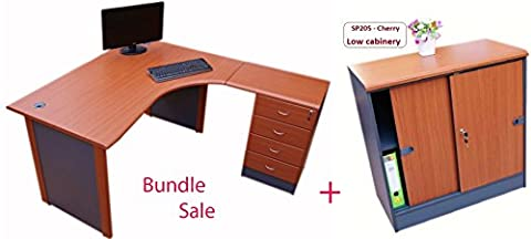 Bundle Sale - Quality Right hand Corner desk with 4 drawer pedestal & Low cabinet - (Cherry)
