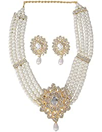 Party Wear Stylish Pearl Necklace Jewellery Set With Earrings For Women / Girls