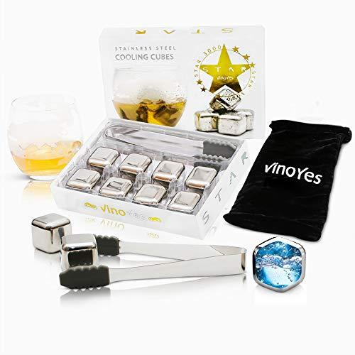 VinoYes Gold oder Silber Premium Whisky Steine – 8 Wiederverwendbare Kühlsteine als Geschenk-Set in Edler Verpackung. Mit gratis Zange, Beutel und Anleitung. Edelstahl