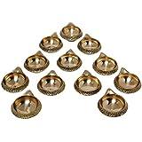 Wall1ders (Set Of 12) Handmade Indian Puja Brass Diya Lamp Engraved Design Kuber Diya (Golden) - 2.5 Inch
