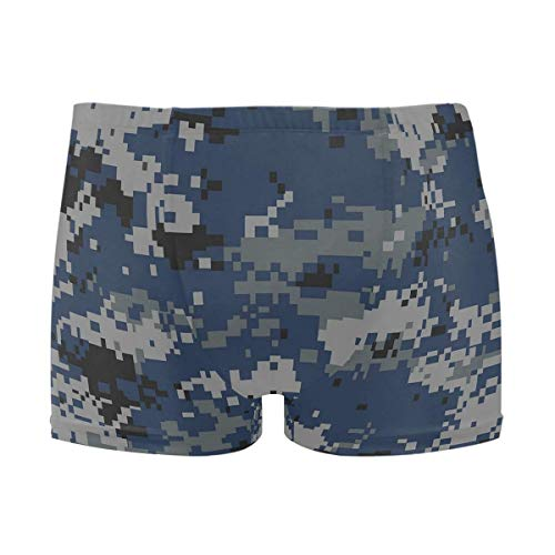 best gift Mens Swim Trunks Blue Camouflage Boxer Briefs Board Short Beach Shorts Men Swimming Briefs Swimwear M -