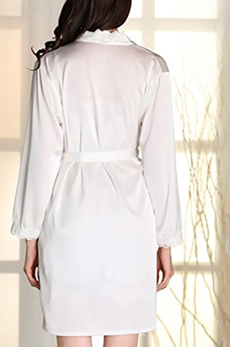 URqueen Women's Silky Gorgeous Loungewear Robe 2PC Sleepwear Set white
