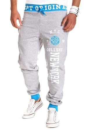 MT Styles Pantalon de jogging contrasté BH-08 [gris, XXL]