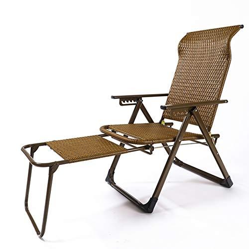 Deckchairs Feifei Klappbare Liegestühle Patio Chair Lounge Chair Büro-Mittagessen-Bett-Strand-Stuhl im Freien, der Wicker-Stuhl-Sonnenliege verlängert (Farbe : 02)
