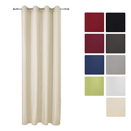 Beautissu Tenda protettiva anti-sguardi indiscreti con occhielli - crema serie Amelie - 140x175cm - tendina decorativa