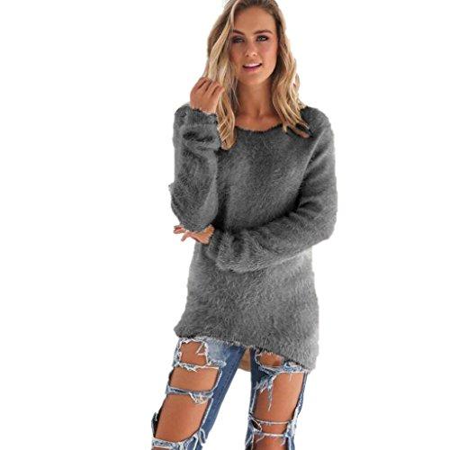 Amlaiworld Sweatshirts Winter bunt plüsch locker pullis Damen komfortabel Sport Sweatshirt warm flauschig Lang Pullover (Grau, XXL)