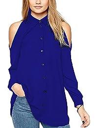 915b3ba157ddb Tunique Epaule Denudee Femme Chemisier en Mousseline de Soie Manches Longues  Sexy Casual Robe Chemise Shirt