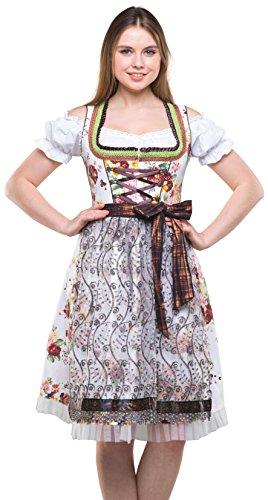 Bavarian Clothes Dirndl Damen Braun Weiß mit Tüllschürze, 3 teiliges Set '7030' Midi Trachten Dirndl Blumenmuster Dirndlbluse (Größe 44) - Creme Spitze Rock