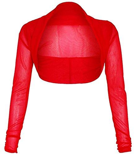 Islander Fashions Womens Chiffon Crop Bolero Shrug Ladies Manica Lunga Full Mesh Cardigan Shrug S/3XL Red