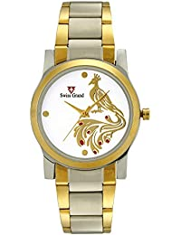 Swiss Grand SG-1175 Silver Coloured With Gold Stainless Steel Strap Analog Quartz Watch For Women - B01KXTVVA0