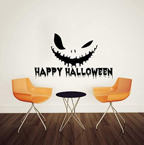 Happy Halloween Scary Terrifying Face Wandaufkleber Für Wohnzimmer Schlafzimmer Wandtattoo Vinyl Wandaufkleber Wohnkultur 41X72 Cm (Zu Leicht Machen Halloween-kunst Und Handwerk)