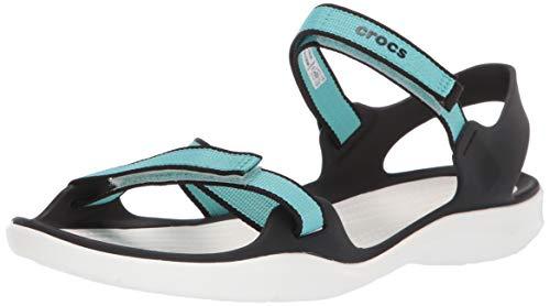 crocs Damen Swiftwater Webbing W Peeptoe Sandalen Blau (Pool/White 4dy) 42/43 EU