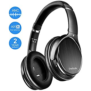 OneAudio Active Noise Cancelling Headphones Bluetooth Headphones Wireless Headphones Over Ear with Mic/Apt-X Low Latency Comfortable Protein Earpads Foldable Headphones for Travel Work PC Phone TV