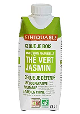 Ethiquable Thé Glacé Thé Vert Jasmin Chine Bio 33 cl - Lot de 2