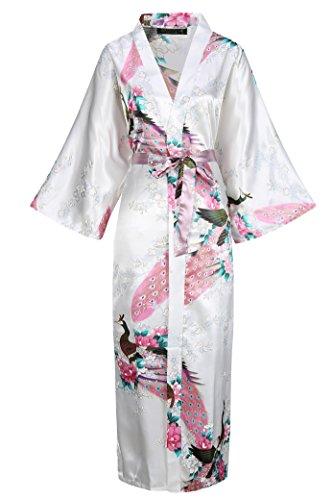BABEYOND Damen Morgenmantel Maxi Lang Seide Satin Kimono Kleid Pfau Muster Kimono Bademantel Damen Lange Robe Schlafmantel Girl Pajama Party (Kimono Kleid Japanische)