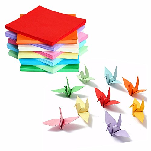 Inovey Diy Quadrat Doppelseitig Origami Faltung Glückwunsch Papier Kran Handwerk Bunte Blätter Papierkunst - D