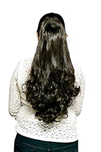 Homeoculture Black Synthetic 24inch Party Hair Extensions with Plastic Clutcher