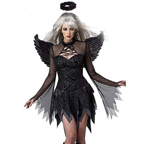 NFY Dunkler Engel Kleid Halloween Damen Jumpsuit Kostüm Geeignet Kleiderparty Fasching Karneval,XL