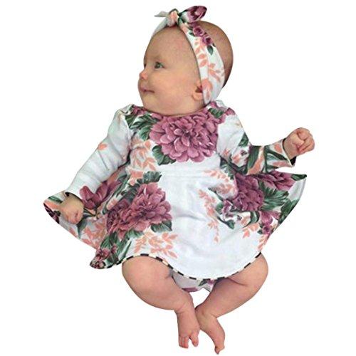 HUIHUI Blumenmuster Prinzessin Lange Ärmel Kleid Mädchen Billig Sommer Herbst Party Petticoat Kleid Tutu Rock + Stirnband Verrückte, 0-24 M (80 (6-12M), Multicolor)