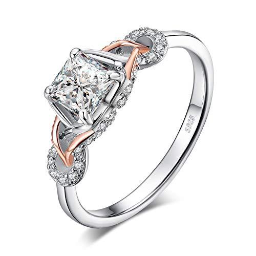 JewelryPalace Infinity 1,2ct Princesse Cut Cubic Zirconia Solitaire Bague de Fiançailles en Argent Sterling 925