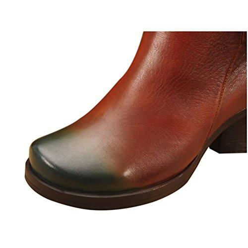 Qpyc Handmade En Forme De Main En Cuir Des Femmes Chaussures Rugueuses Talon En Cuir Chevalier Tête Ronde En Marron Bottes Chaussures