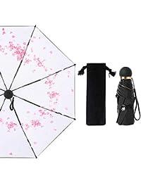 Little fairy QJ Paraguas, Creativo Vinilo Mariposa 50 Pliegues Paraguas protección Solar UV Bolsillo Paraguas