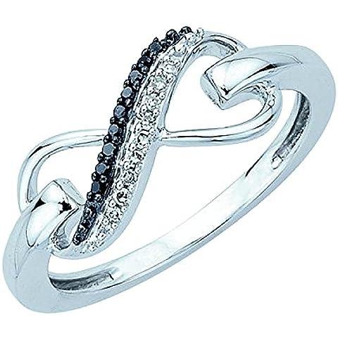 0.25ct nero & bianco diamante Cocktail anello di fidanzamento