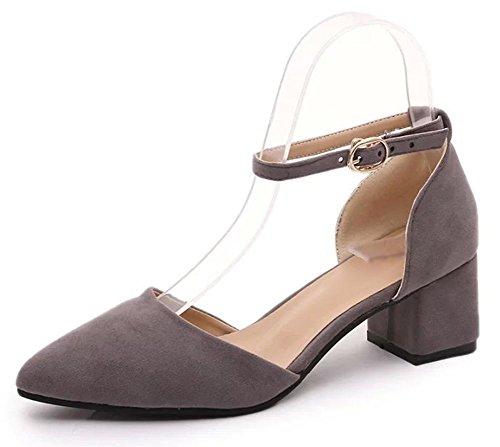 Sommer Sandalen spitze Wort Schnalle Sandalen Baotou Sandalen hohle dick mit Frau Grey