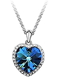 Titanic Herz der Ozean Swarovski Kristall Halskette und Kette Platte weiß Gold 18 Karat - Blue Ocean
