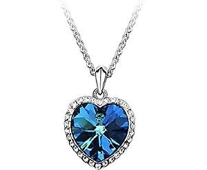 Collier Titanic Le Coeur de l'Océan - Cristal de Swarovski Eléments - Bleu Océan - Chaîne en Plaqué Or Blanc 18 Carats - 45 cm