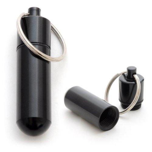 Pillen-Dose im 2er Set, Pillen-Box, Aluminium-Kapsel, Schlüssel-Anhänger Mini, wasserdicht, Farbe: schwarz, Höhe: 48 mm